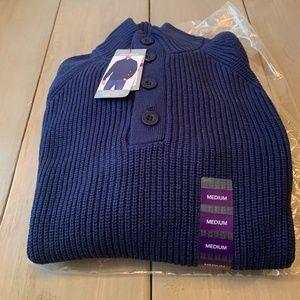 Eddie Bauer Men's Blue Quarter Button Sweater Med.